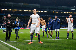 Zlatan Ibrahimovic of Paris Saint-Germain celebrates after Paris Saint-Germain win the math 1-2 to progress to the last 8 of the competition - Mandatory byline: Rogan Thomson/JMP - 09/03/2016 - FOOTBALL - Stamford Bridge Stadium - London, England - Chelsea v Paris Saint-Germain - UEFA Champions League Round of 16: Second Leg.