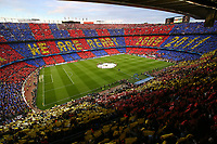 General view of the Camp Nou Stadium as supporters of FC Barcelona raise a tifo before the UEFA Champions League semi-final first leg match, between FC Barcelona and Bayern Munchen on May 6, 2015 at Camp Nou stadium in Barcelona, Spain. <br /> Photo: Manuel Blondeau/AOP.Press/DPPI