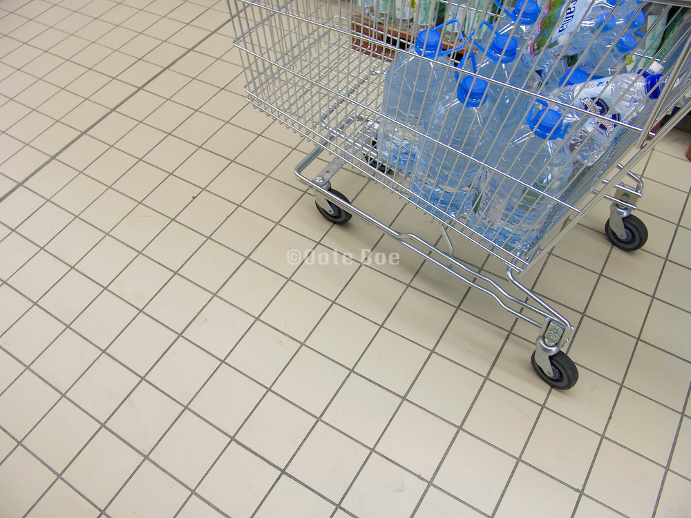 shopping cart with bottled water