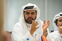 09 APR 2013, DOHA/QATAR<br /> Fahad Bin Mohammed Al-Attiyah, Chariman Qatar National Food Security Programme, waehrend einem Gespraech mit Journalisten, Innenministerium Katar<br />  IMAGE: 20130409-01-053<br /> KEYWORDS: Katar