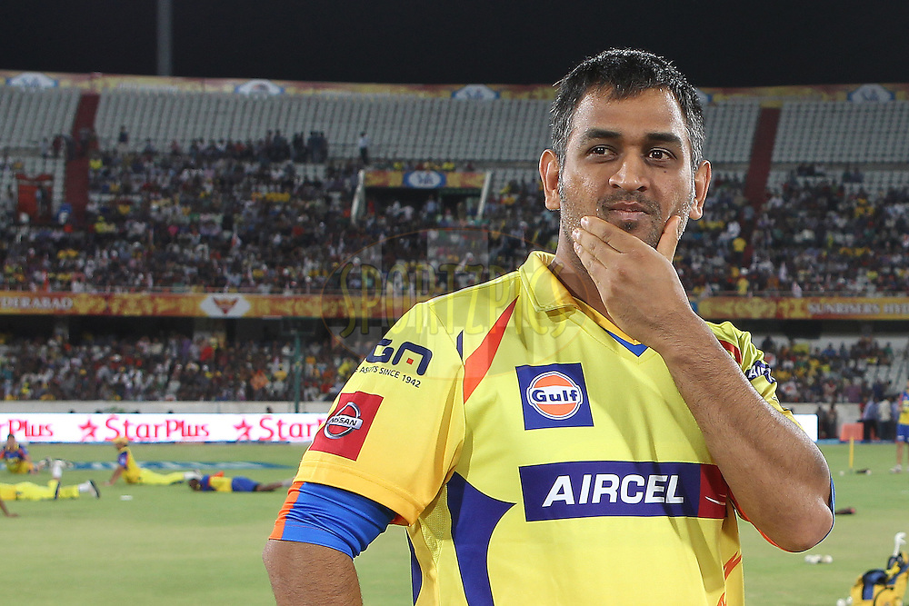 MS Dhoni before the toss during match 54 of the Pepsi Indian Premier League between The Sunrisers Hyderabad and Chennai Superkings held at the Rajiv Gandhi International  Stadium, Hyderabad  on the 8th May 2013..Photo by Ron Gaunt-IPL-SPORTZPICS ..Use of this image is subject to the terms and conditions as outlined by the BCCI. These terms can be found by following this link:..http://www.sportzpics.co.za/image/I0000SoRagM2cIE