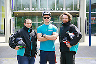 Deliveroo riders l-r, Tristan Harding, Brendan Tait, and, Alastair Halward.
