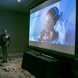 AcouFlow Therapeutics , University Cincinnati at the 2017 Ohio Collegiate Showcase team presentations for ICORPS@Ohio Friday October 20th, 2017. (Christina Paolucci, photographer)