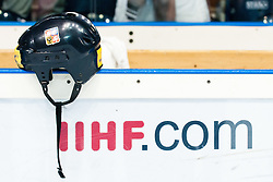Czech Republi helmet on board and iihf.com sign at IIHF In-Line Hockey World Championships 2011 Top Division Gold medal game between National teams of Czech republic and USA on June 25, 2011, in Pardubice, Czech Republic. (Photo by Matic Klansek Velej / Sportida)