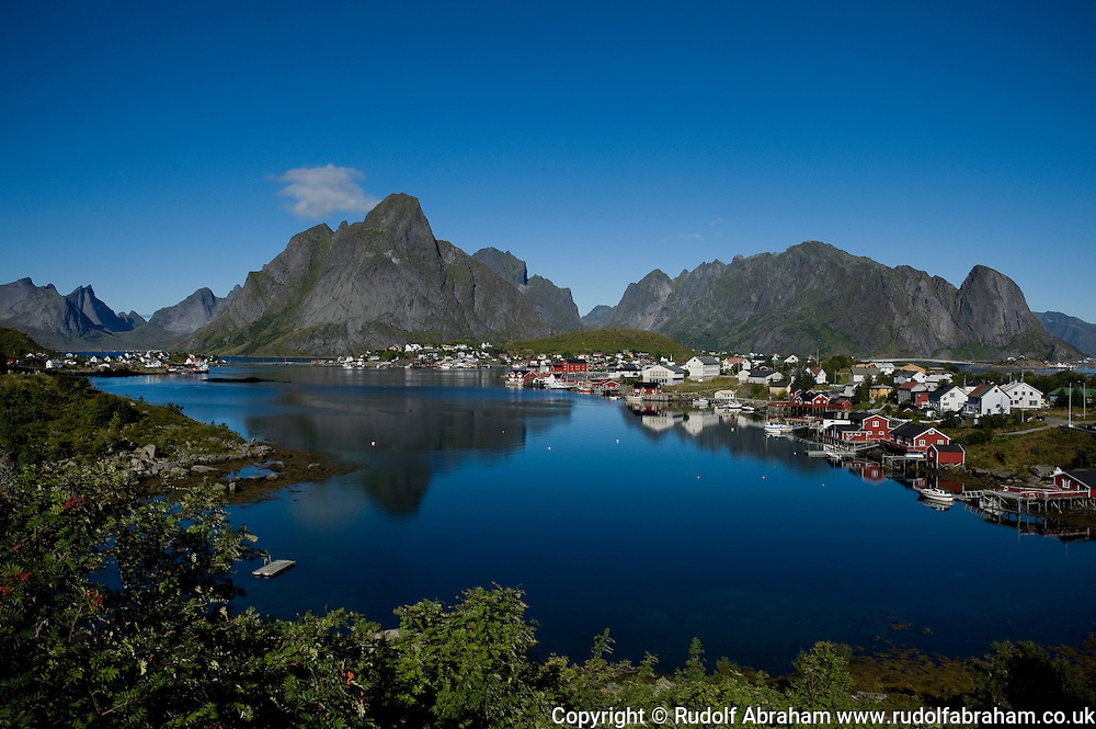The village of Reine and the mountains of Moskenesoya, Lofoten Islands, Arctic Norway