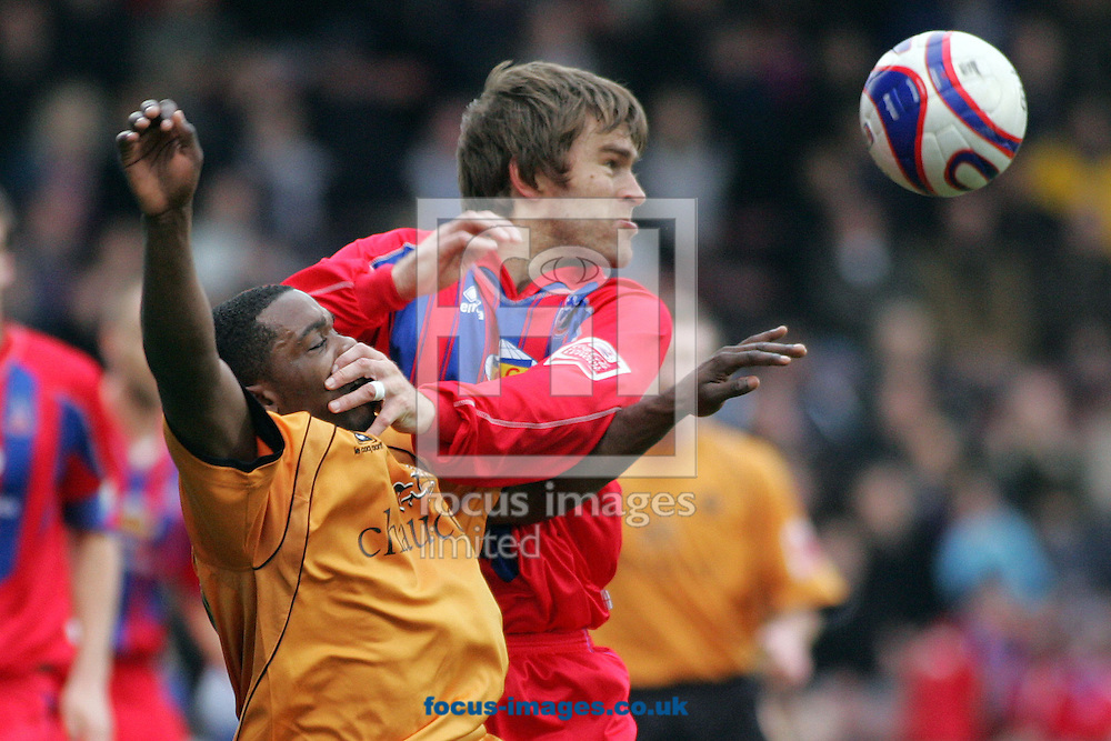 London - Saturday, February 23rd, 2008: Crystal Palace's Matthew Lawrence (R) in action against Wolverhampton Wanderers' Sylvan Ebanks-Blake (L) during the Coca Cola Championship match at Selhurst Park, London. (Pic by Mark Chapman/Focus Images)