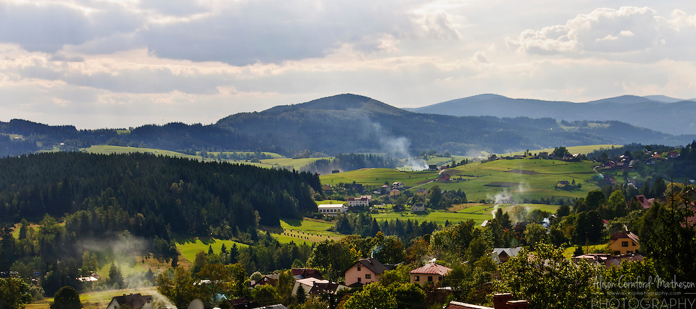 The beautiful village of Istebna, Poland is situated in the Silesian Beskids mountain range near the borders with the Czech Republic and Slovakia.