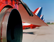 Exhaust jet pipe at rear of BAE Systems Hawk of the Red Arrows, Britain's RAF aerobatic team.