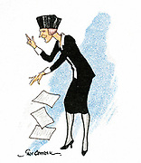 Nancy Witcher Langhorne Astor, Viscountess Astor (1879-1964) making a speech in Parliament. American-born British politician. Conservative Member of Parliament for Plymouth 1919. First woman to take her seat in House of Commons. Cartoon. Card published London, 1929.