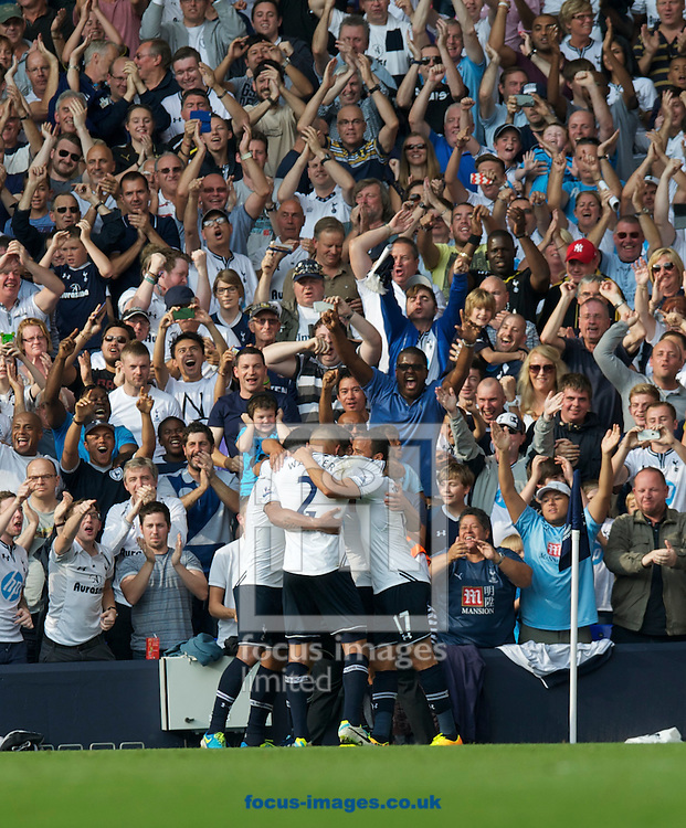 Picture by Alan Stanford/Focus Images Ltd +44 7915 056117<br />25/08/2013<br />Roberto Soldado of Tottenham Hotspur celebrates after scoring with his team mates during the Barclays Premier League match at White Hart Lane, London.