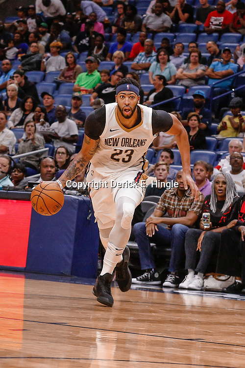 Oct 3, 2017; New Orleans, LA, USA; New Orleans Pelicans forward Anthony Davis (23) against the Chicago Bulls during the second half of a NBA preseason game at the Smoothie King Center. The Bulls defeated the Pelicans 113-109. Mandatory Credit: Derick E. Hingle-USA TODAY Sports