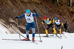 SHYSHKOVA Oksana Guide: NESTERENKO Lada, UKR, KLUG Clara Guide: HAERTL Martin Waidemar, GER at the 2014 IPC Nordic Skiing World Cup Finals - Sprint