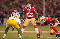 12 January 2013: Linebacker(52) Patrick Willis of the San Francisco 49ers lines up against the Green Bay Packers during the XX half of the 49ers 45-31 victory over the Packers in an NFL Divisional Playoff Game at Candlestick Park in San Francisco, CA.