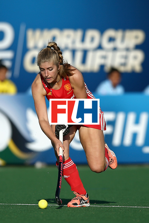 JOHANNESBURG, SOUTH AFRICA - JULY 18: Sarah Haycroft of England in action during the Quarter Final match between England and India during the FIH Hockey World League - Women's Semi Finals on July 18, 2017 in Johannesburg, South Africa.  (Photo by Jan Kruger/Getty Images for FIH)