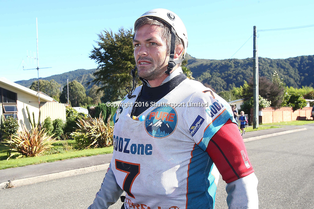 NELSON, NEW ZEALAND - April 4: GODZone C5 Adventure Race Day 4 Richie McCaw from team Cure Kids arrives in Murchison on April 4 2016 in Nelson, New Zealand. (Photo by: Evan Barnes Shuttersport Limited)