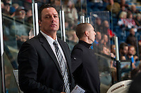 KELOWNA, CANADA - SEPTEMBER 28: Head coach Richard Matvichuk of Prince George Cougars stands on the bench against the Kelowna Rockets on September 28, 2016 at Prospera Place in Kelowna, British Columbia, Canada.  (Photo by Marissa Baecker/Shoot the Breeze)  *** Local Caption *** Richard Matvichuk;