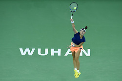 WUHAN, Sept. 24, 2017 Duan Yingying of China serves during the singles' first round match against Elena Vesnina of Russia  at 2017 WTA Wuhan Open in Wuhan, capital of central China's Hubei Province, on Sept. 24, 2017. Duan lost 0-2.  wll) (Credit Image: © Ou Dongqu/Xinhua via ZUMA Wire)