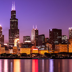 Chicago skyline at night high resolution image with Willis Tower (Sears Tower) one of the world's tallest buildings and other popular downtown Chicago Loop office buildings and skyscrapers. Photo was taken in October 2011.