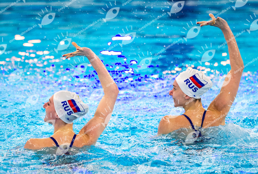 Preliminary Duet Technical<br /> RUS RUSSIA<br /> ISHCHENKO Natalia<br /> ROMASHINA Svetlana<br /> European Champions Cup Synchronised Swimming Haarlemmermeer 2015<br /> Haarlemmermeer, Netherlands 2015  May 8 th - 10 th<br /> Day02 - May 9th<br /> Photo P. F. Mesiano/Deepbluemedia/Inside