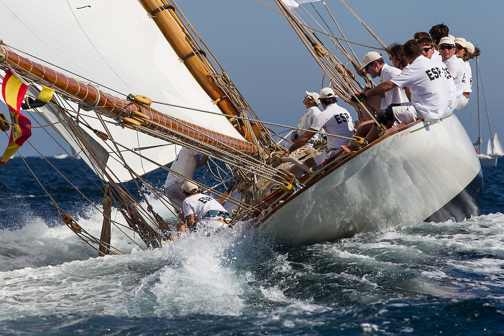"""FRANCE, St Tropez. 3rd October 2012. Voiles de St Tropez. Sailing Yacht """"Hispania""""   built in 1909 and designed by William Fife III."""