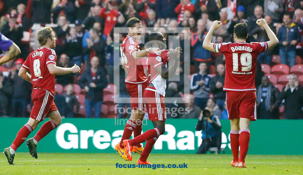Albert Adomah (2nd r) of Middlesbrough celebrates scoring to make it 2-0  during the Sky Bet Championship match at the Riverside Stadium, Middlesbrough<br /> Picture by Simon Moore/Focus Images Ltd 07807 671782<br /> 31/10/2015