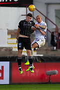 2nd Aug 2019, East End Park, Dunfermline, Fife, Scotland, Scottish Championship football, Dunfermline Athletic versus Dundee;  Jordon Forster of Dundee competes in the air with Kevin Nisbet of Dunfermline Athletic