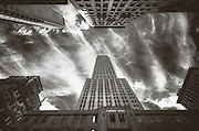 Photo taken at the bottom of the Empire State Building on a windy day, New York