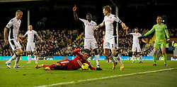 05.12.2011, Craven Cottage Stadion, London, ENG, PL, FC Fulham vs FC Liverpool, 14. Spieltag, im Bild Liverpool's Luis Alberto Suarez Diaz is fouled by Fulham's John Arne Riise, but no penalty is given, during the football match of English premier league, 14th round, between FC Fulham and FC Liverpool at Craven Cottage Stadium, London, United Kingdom on 05/12/2011. EXPA Pictures © 2011, PhotoCredit: EXPA/ Sportida/ David Rawcliff..***** ATTENTION - OUT OF ENG, GBR, UK *****