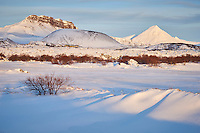 Winter in Borgarfjörður, Iceland. Grábrók and Mount Baula in background.