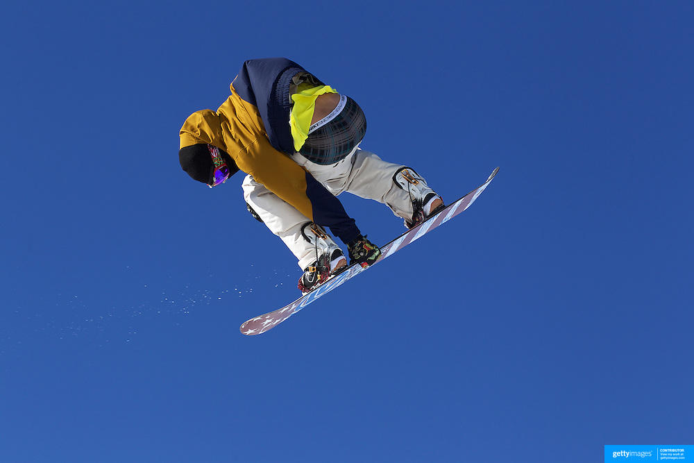 A snowboarder loses his pants while practicing for the Snowboard Slopestyle Men's competition at Snow Park, New Zealand during the Winter Games. Wanaka, New Zealand, 21th August 2011. Photo Tim Clayton