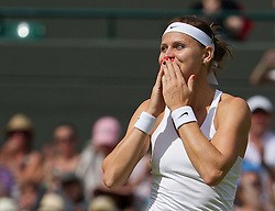 01.07.2014, All England Lawn Tennis Club, London, ENG, WTA Tour, Wimbledon, im Bild Lucie Safarova (CZE) celebrates after winning the Ladies' Singles Quarter-Final match 6-3, 6-1 on day eight // during the Wimbledon Championships at the All England Lawn Tennis Club in London, Great Britain on 2014/07/01. EXPA Pictures © 2014, PhotoCredit: EXPA/ Propagandaphoto/ David Rawcliffe<br /> <br /> *****ATTENTION - OUT of ENG, GBR*****