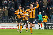Goal 1-1 Michael Dawson of Hull City celebrates as he scores to make it level during the EFL Sky Bet Championship match between Hull City and Barnsley at the KCOM Stadium, Kingston upon Hull, England on 27 February 2018. Picture by Craig Zadoroznyj.