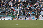 Douglas Imrie (right) scores Greenock Morton's winner - Greenock Morton v Dundee, SPFL Championship at Cappielow<br /> <br />  - &copy; David Young - www.davidyoungphoto.co.uk - email: davidyoungphoto@gmail.com