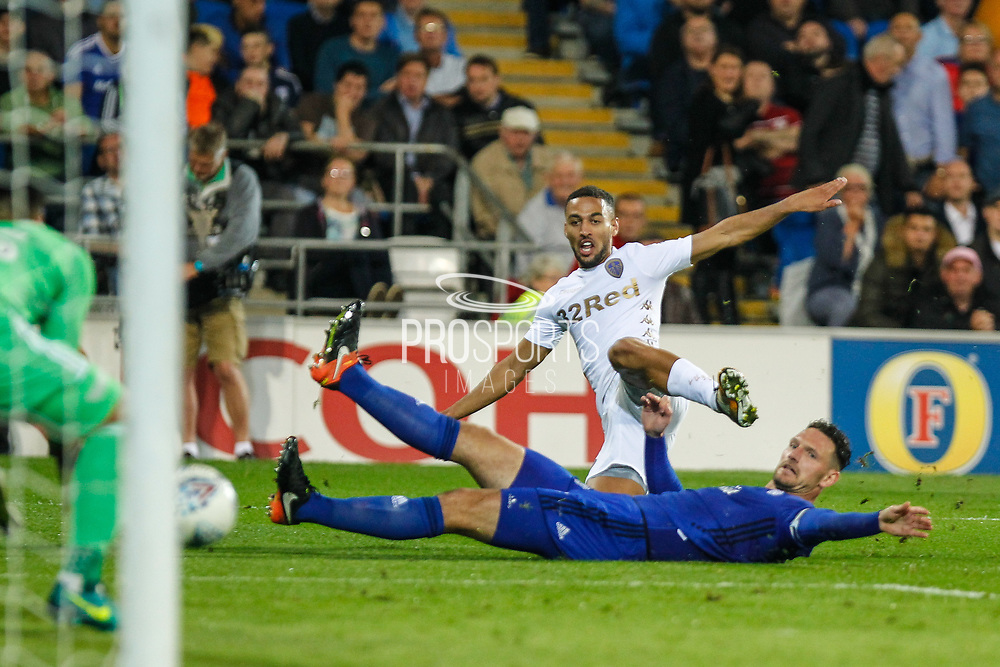 Kemar Roofe of Leeds United has a shot during the EFL Sky Bet Championship match between Cardiff City and Leeds United at the Cardiff City Stadium, Cardiff, Wales on 26 September 2017. Photo by Andrew Lewis.