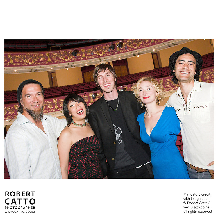 Warren Maxwell;Tze Ming Mok;Joe Sheehan;Eve Armstrong;Taika Waititi at the Arts Foundation of New Zealand New Generation Awards at the St James Theatre, Wellington, New Zealand.<br />