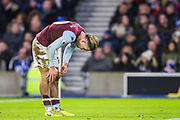 Jack Grealish (Capt) (Aston Villa) celebrates his goal 1-1 during the Premier League match between Brighton and Hove Albion and Aston Villa at the American Express Community Stadium, Brighton and Hove, England on 18 January 2020.
