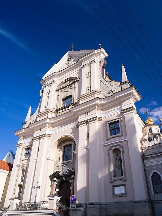 Low-angle view of St. Teresa's Church, (ŠV. TERESĖS bažnyčia) along Ausros Varte Gatve, Vilnius, Lithuania.