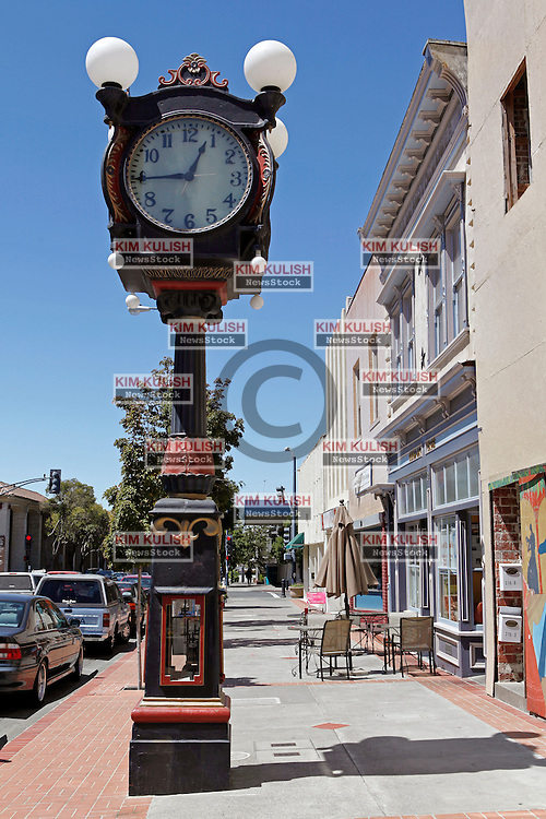 "View of the historic ""Alibi Clock"" on  Georgia Street in downtown Vallejo, California. The city of Vallejo, California filed for bankruptcy protection in 2008 in attempt to deal with a ballooning budget deficit caused by soaring employee costs and declining tax revenue."