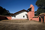 The church, its plaza and bell tower are seen La Purisima Mission State Historic Park in Lompoc, Calif. La Purisima and San Francisco Solano missions are part of the California state park system. The other 19 missions are still active churches, several with large parishes. © 2015 Nancy Wiechec