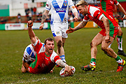Keighley Cougars second row Josh Lynam (11) scores a try   during the Betfred League 1 match between Keighley Cougars and Workington Town at Cougar Park, Keighley, United Kingdom on 18 February 2018. Picture by Simon Davies.