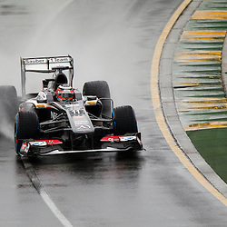 F1 Australian Grand Prix 16 March 2013 Qualifying Session 1.Qualifying Session 1. Nico Hulkenberg Sauber flys around a wet Albert Park circuit during qualifying..(c) MILOS LEKOVIC | StockPix.eu