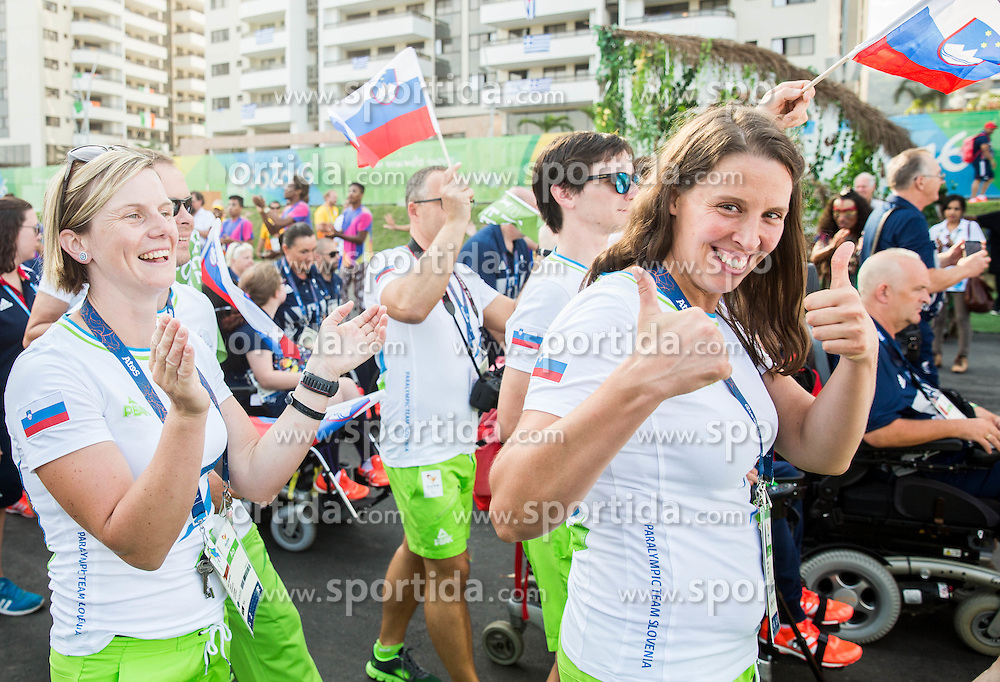 Nina Mozetic and Spela Rozman Dolenc of Slovenia during the Village flag raising ceremony ahead of the Rio 2016 Summer Paralympics Games on September 4, 2016 in the Paralympic Village, Rio de Janeiro, Brazil. Photo by Vid Ponikvar / Sportida