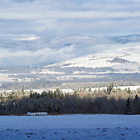 First Snow of the Winter to hit Perthshire....03.12.12<br /> A wintry scene looking across Keillor Forest at the snow covered hills of Glenalmond from the A823 Auchterarder to Crieff road.<br /> Picture by Graeme Hart.<br /> Copyright Perthshire Picture Agency<br /> Tel: 01738 623350  Mobile: 07990 594431