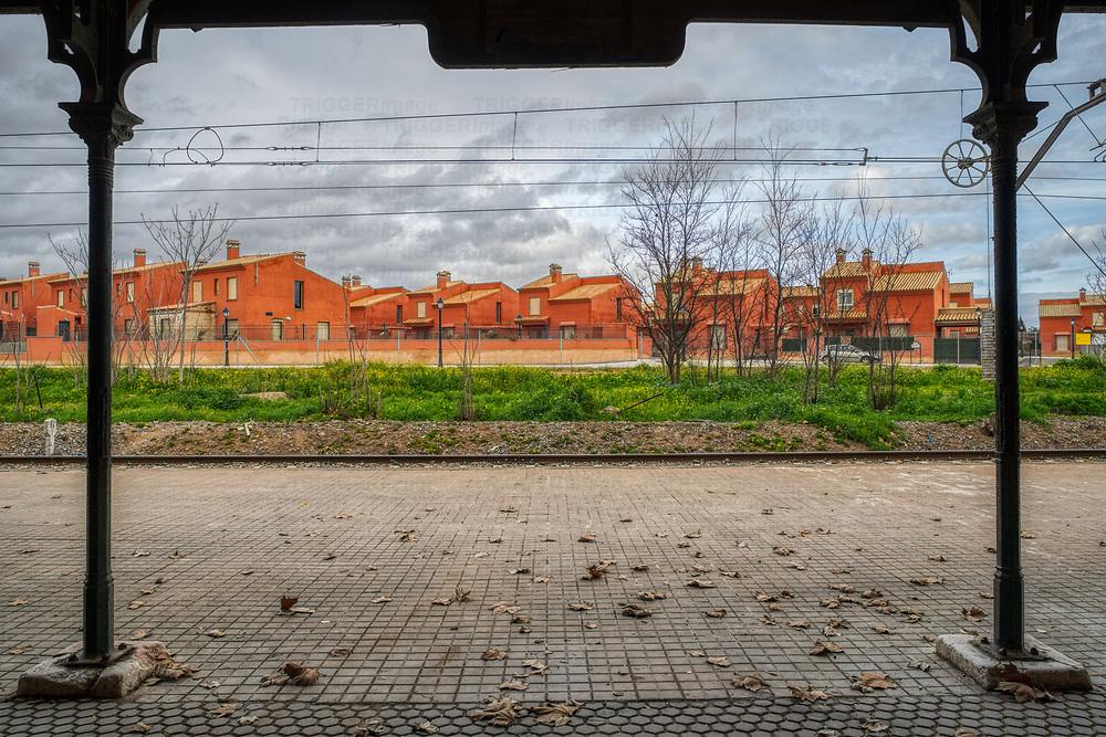 Terraced houses next to the railway station, Sanlucar la Mayor, Seville, Spain.