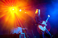 PRICE CHAMBERS / NEWS&amp;GUIDE<br /> Brian Carroll, better known as Buckethead, plays his brand of heavy, instrumental electro-rock at the Pink Garter Theatre on Monday night. The virtuoso guitarist primarily performs solo but has colaborated with a long list of artists and was a member of Guns N' Roses from 2000-2004. Buckethead's stage persona represents a character who was &quot;raised by chickens&quot; and has made it his &quot;mission in life to alert the world to the ongoing chicken holocaust in fast-food joints around the globe.&quot;