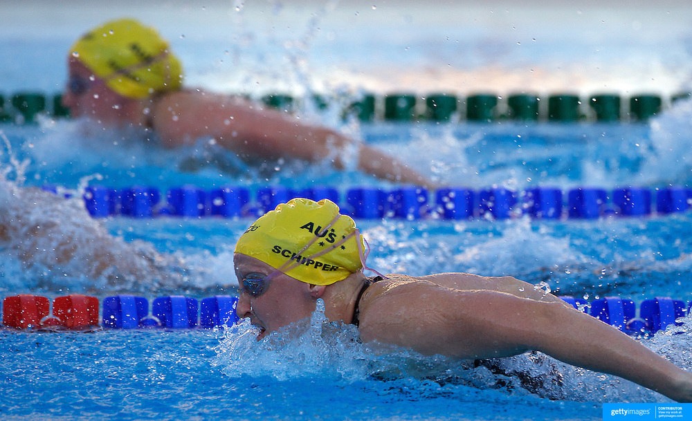 Jessicah Schipper, Australia, with team mate Samantha Hamill in the background wins Gold in the Women's 200m Butterfly at World Swimming Championships in Rome on Thursday, July 30, 2009. Photo Tim Clayton.