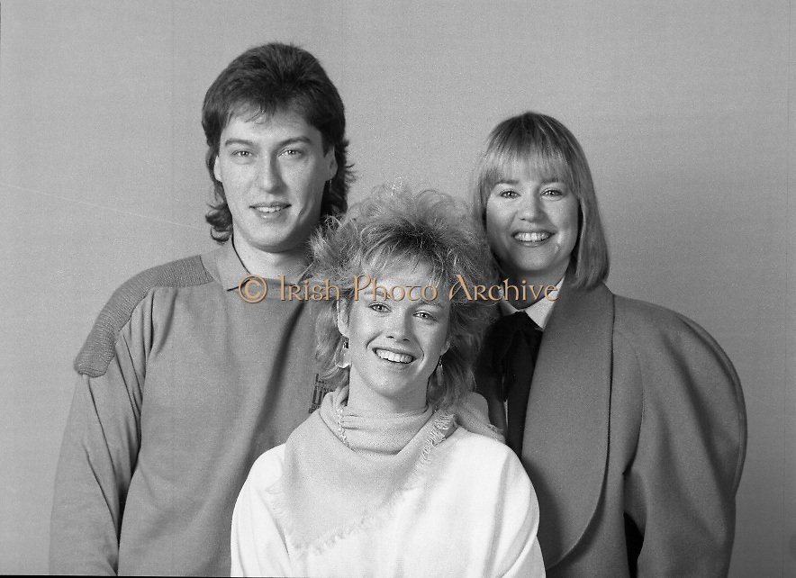 "Irish National Song Contest..1985..08.02.1985..02.08.1985..8th February 1985..Battling to represent Ireland in Gothenburg at the Eurovision Song Contest the following singers took to the stage at R.T.E. Studios, Dublin. .Jody Mc Stravick,Maria Christian,.Marion Fossett,Jane Cassidy,Carol Anne,.Jacinta Whyte,Mike Sherrard and Trish O'Brien..The National winner was Maria Christian,singing ""Wait until the weekend comes"". She went on to finish a commendable sixth, behind the winners Norway, in the Eurovision Final...Image of Jody Mc Stravick taken prior to him singing ""Couldn't live my life"", in the National Song Contest.."