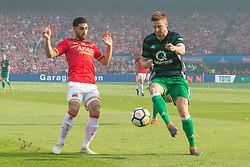 Alireza Jahanbakhsh of AZ, Jan-Arie van der Heijden of Feyenoord during the Dutch Toto KNVB Cup Final match between AZ Alkmaar and Feyenoord on April 22, 2018 at the Kuip stadium in Rotterdam, The Netherlands.