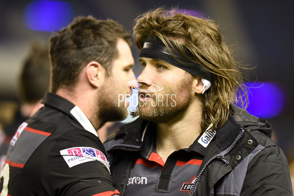 Ben Toolis and Fraser McKenzie after 34-33 win in the European Rugby Challenge Cup match between Edinburgh Rugby and Stade Francais at Murrayfield Stadium, Edinburgh, Scotland on 12 January 2018. Photo by Kevin Murray.