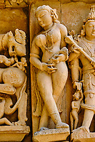 Inde, état du Madhya Pradesh, Khajuraho, site classé au Patrimoine Mondial de l'UNESCO, groupe Est, temple de Parsvanath // India, Madhya Pradesh state, Khajuraho, Unesco World Heritage, the Khajuraho Group of Monuments is a group of Hindu temples and Jain temples, Eastern group, Parsvanath temple